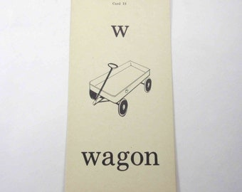Vintage 1950s Children's School Flash Card with Word and Picture for Wagon by the Gelles-Widmer Co.