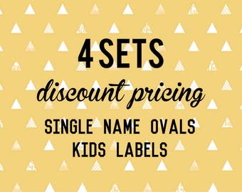 Single Name OVAL Kids Labels - 4 sets of 30 qty - Waterproof for kids