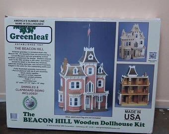The Beacon Hill Dollhouse Kit Greenleaf Wooden All Wood Doll House Victorian, Miniature Doll House Kit