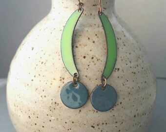 Dangle & Drop Earrings, Green and Blue Jewelry Sage Green and Delft Blue Copper Enamel Earrings Handmade Chandelier Earrings Nickel Free