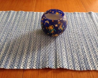 Handwoven table runner in Faded Denim cotton