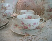 beautiful pink roses floral pattern, 10 antique haviland and company cream soup sets, double handle cups and saucers, wonderful condition!