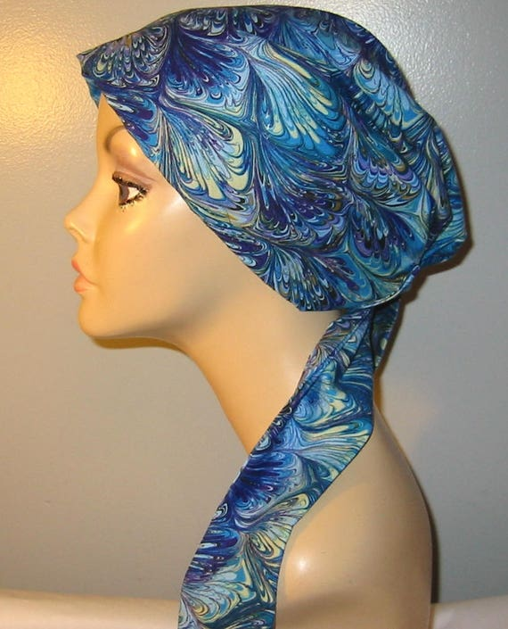 Womens Blue Feathers Print  Chemo Hat, Cancer Scarf, Modest Hat