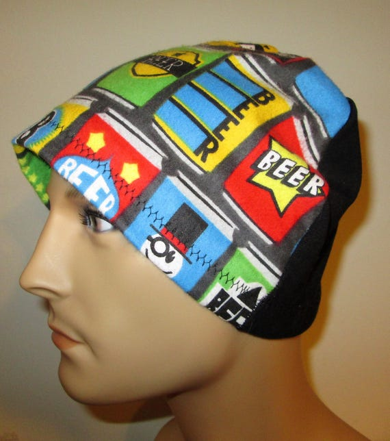 Mens Flannel Beer  Chemo Hat Sleep Cap Cancer Cap Keep Bald Heads Warm cj hats