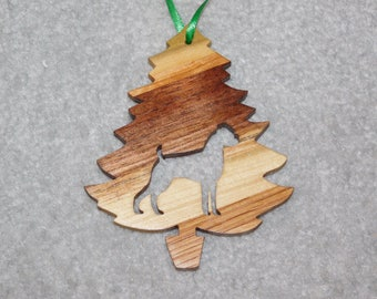 Wood Christmas Tree Dog Ornament -  Boxer uncropped ears