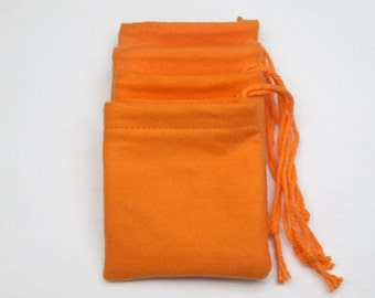 "Set of 4, (3"" x 3"") Solid Orange Flannel Cotton Hoo Doo / Mojo Bags / Jewelry Pouches"
