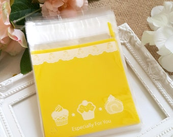 Plastic bags - 20pcs Especially for you white Lace and cake pattern yellow plastic bags with seal (Package treasury)