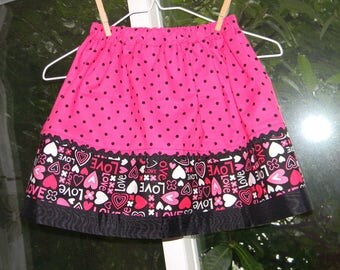 Love Skirt, Little to Med Girls Handmade Skirt