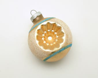 Vintage Christmas Ornament Glass Shiny Brite Indents Mid Century