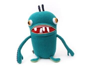 """Monster Plush Stuffed """"Goob"""" Toothy Pocket Cotton Monster"""