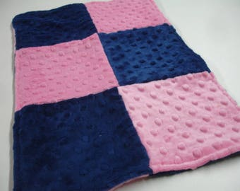 Navy and Hot Pink Double Sided Minky Burp Cloth 12 x 18 READY TO SHIP On Sale