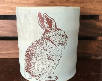 Durable Green Stoneware Rabbit Utensil Holder
