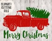 Christmas truck svg, Merry Christmas svg, Christmas tree svg, Christmas svg designs, Christmas svg files, vintage truck svg, vinyl art