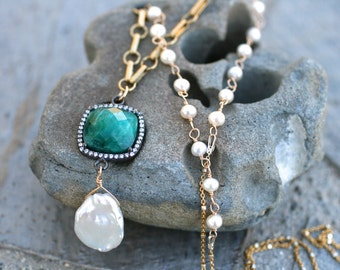 Green Emerald Gemstone, Freshwater Pearl Necklace, 14KT Gold Filled, Pearl Jewelry, June Birthstone, May Birthstone, Birthstone Jewelry