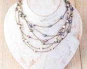 the princess choker / knotted handspun ROPE / waterproof / life-proof / island jewelry / Tula Blue