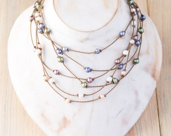 the princess freshwater pearl necklace / knotted handspun ROPE / waterproof / life-proof / island jewelry / tula blue