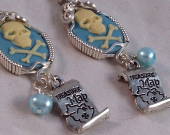 Blue Pirate earrings with cultured freshwater Pearls and map charms