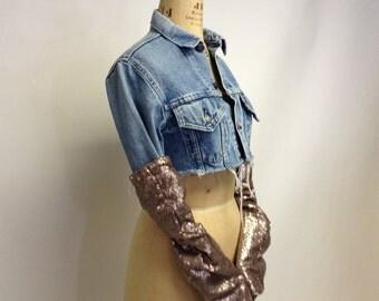 Handmade Blush Sequin fabric Arm Warmers