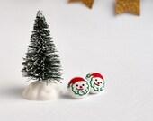 Vintage Santa Claus Tiny Button Earrings
