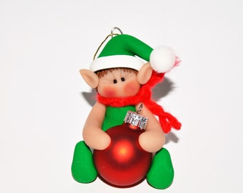Elf with Red Glass ball Polymer Clay Christmas Ornament