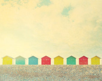 Beach photograph, beach cabins, English seaside, Eastbourne Sussex, seafront, beach scene, seascape, England, seaside, nautical decor