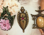 Banana Bob Vintage Findings - All One of a Kind with Enamel, Brass & Swarovski Crystal Chips - 3 Pieces