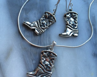 Cowboy Boots - Get Yur' Boots On, Honey - Earrings in Recycled Silver on Hooks or Clip backs and Pendant Set