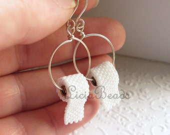 Toilet Paper earrings on hoops  in sterling silver or gold tone, allow up to 2 weeks before shipping