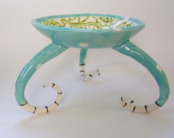 whimsical pottery Serving Bowl with legs :) polka-dots and hand painted floral, w/ black & white striped curly feet