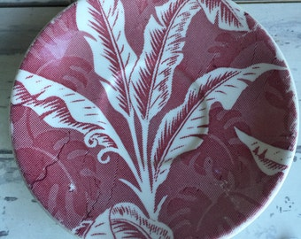 Vintage Saucers Wallace China Restaurantware Red and White Barkcloth Leaves