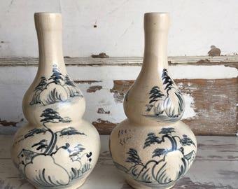 Vintage Asian Saki Bottles - Decanter - Saki Set - Blue and White Pottery Hand-painted