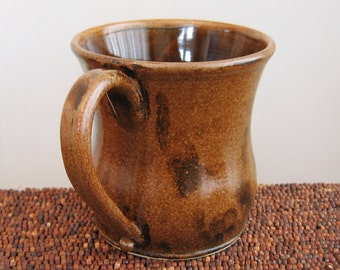 Huge Coffee Mug - Large Stoneware  Pottery Ceramic Cup 20 oz. Gifts for Men, Pot Belly Mug in Chocolate and Tiger's Eye