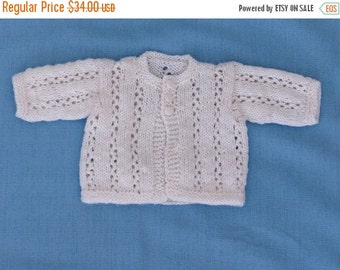 Holiday Sale Baby  Sweater  White  Lacey  Preemie  Ready to Ship