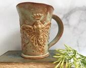 Ceramic Fairy Garden Queen Coffee Cup - Flower Fairy Queen Cup - Handmade Ceramic Butterfly Fairy Mug