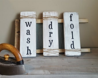 Wash, dry and fold! Handpainted rustic laundry signs.
