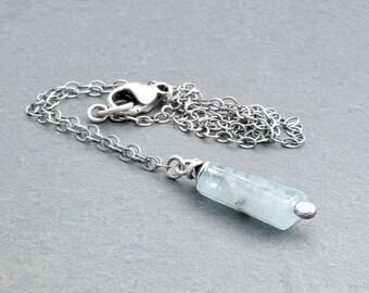 Aquamarine Pendant Necklace, Aquamarine Necklace, March Birthstone, Sterling Silver, Aquamarine Gemstone Necklace, Wire Wrapped,  #4735
