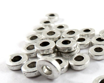 25 Spacer Bead Round Heishi Spacers Antique Silver Donut Beads Round Large Hole Disk LF/CF 6x2mm - 25 pc - M7074-AS25
