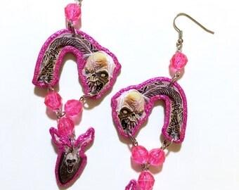 Evil Dead 2 Henrietta and Possessed Deer Glittery Pink Dangle Earrings