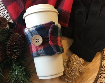 Flannel Coffee Cozy in Red/Blue/White
