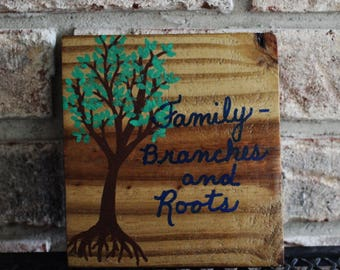 Small Wood Sign, Family, Branches and Roots, Square Sign, Handpainted Wooden Tree, Reclaimed Wood, Fence Wood Painted by Hendywood