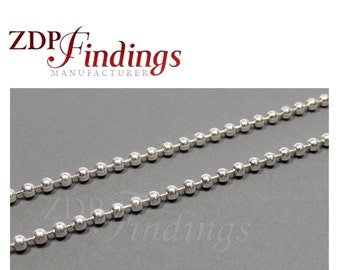 3.28FT (1 MT) Sterling Silver 925 Ball Chain 2.3mm In Bulk (7540311)