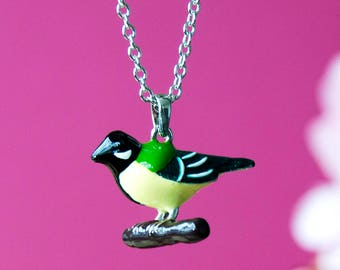 Necklace with enamelled Great tit pendant