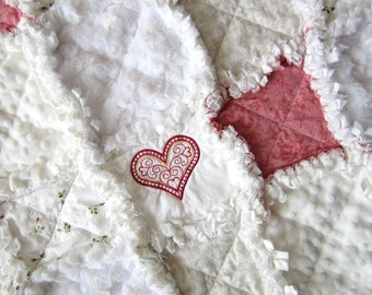 "Heart Baby Blanket, 30"" x 35"", Baby Rag Quilt,  Minky Flannel Girl Blanket, Cottage Chic Decor, White Pink Baby Bedding"