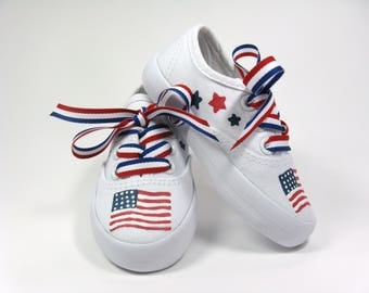 American Flag Shoes, Fourth of July Sneakers, Red, White and Blue July 4th Holiday Shoes Hand Painted for Baby or Toddler