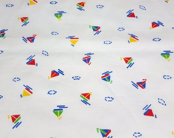 vintage 80s cotton fabric, featuring cute juvenile sailboat motif, 1 yard