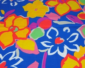 vintage 80s ripstop fabric, featuring bold neon floral print, 1 yard, 2 available, priced per yard