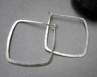 recycled silver Square Hoop earrings
