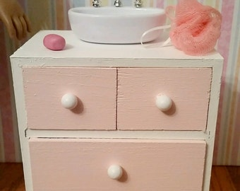 """18 inch Doll Bathroom Sink, vanity cabinet, sink with accessories for 18"""" Dolls rubber duck, sponge, soap"""