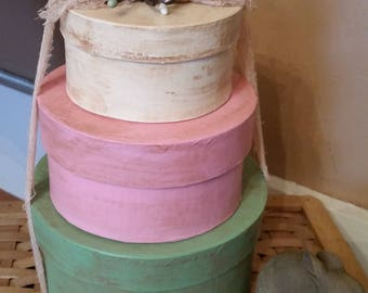 Primitive pastel paper mache boxes. pip berries, speckled eggs. Spring, Easter Home decoration