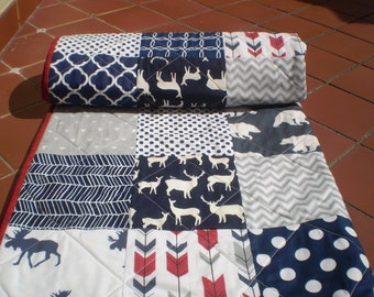 Handmade Baby Quilt,Crib Quilt,Baby boy girl Bedding quilt,Woodland,Arrow,Rustic Baby Quilt,grey,navy,red,moose,deer,bear,toddler,Red Woodsy